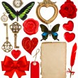 Valentines Day scrapbooking. Red hearts, photo frame, paper — Stock Photo #62873403