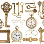 Golden antique accessories. baroque frame, vintage keys, clock — Stock Photo #62873745