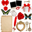 Objects for scrapbooking. letter paper, photo frame, flower, but — Stock Photo #62874359