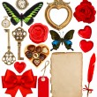 Objects for Valentines Day scrapbook. Paper page, red hearts, ph — Stockfoto #62876963
