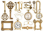Golden antique accessories. baroque frame, vintage keys, clock — Stock Photo