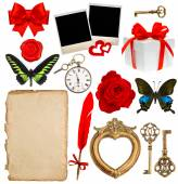 Objects for scrapbooking. letter paper, photo frame, flower, but — Stock Photo