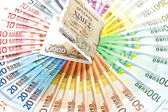 Old greek drachma and euro cash notes. euro financial crisis — Stock Photo