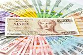 Old greek drachma and euro cash banknotes. euro crisis concept — Stock Photo