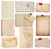Set of old paper sheets, book, envelope, cardboard — Stock Photo