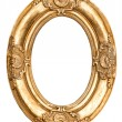 Golden oval frame isolated on white. Baroque style antique objec — Stock Photo #64617295