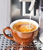 Coffee maker pouring fresh milk coffee in a cup — Stock Photo