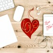 Office Working Place with Red Heart. Valentines Day. Love You — Stock Photo #64644933