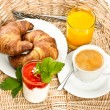 Постер, плакат: Coffee croissant and orange juice
