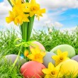 Easter eggs decoration and daffodils flowers — Stock Photo #67842097