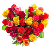 Colorful roses bouquet in heart shape — Stock Photo