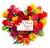 Colorful roses bouquet in heart shape. — Stock Photo