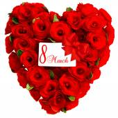 Red heart from rose flowers with white card 8 March — Stock Photo