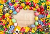 Easter decoration with spring flowers — Stock Photo