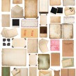 Aged paper sheets, books, pages and old postcards isolated on wh — Stock Photo #77275424