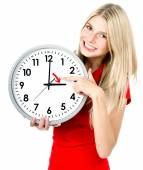 Young woman with a clock. Time management concept — Stock Photo