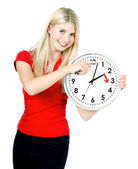 Time management concept. Daylight Saving Time. Young smiling wom — Stock Photo