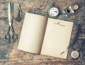 Open journal book and vintage writing tools. Memories. Retro sty — Stock Photo
