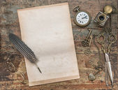 Letter paper with vintage writing tools. Feather pen and inkwell — Stock Photo