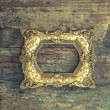 Baroque golden frame on wooden background. Grunge texture — Stock Photo #77329638