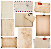 Set of old paper sheets, book, envelope, photo frame with corner — Stock Photo