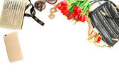 Fashion mock up with accessories, flowers, cosmetics. Online sho — Stock Photo