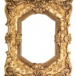 Golden baroque frame isolated on white background — Stock Photo #77456750
