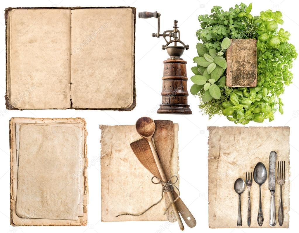 골동품 나무 주방 용품, 오래 된 요리 책, 사용 된 종이 그 ...