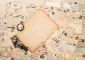 Old paper piece, antique accessories and postcards. Sentimental — Stock Photo
