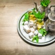 Tea with mint leaves and arabic delight. Oriental hospitality — Stock Photo #79108236