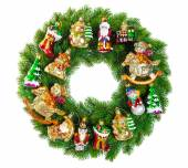 Christmas wreath decorated with ornaments, baubles and vintage t — Stock Photo
