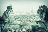 Stone demons gargoyle und chimera. Notre Dame de Paris — Zdjęcie stockowe