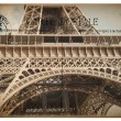 French postcard from Paris with landmark Eiffel Tower — ストック写真 #81937362