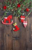 Christmas decoration textile handmade toys. Nostalgic retro styl — Stock Photo