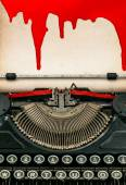 Antique typewriter and paper sheet with blood. Halloween concept — Stock Photo