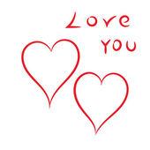 Happy Valentine's Day harten op een witte achtergrond. — Stockvector