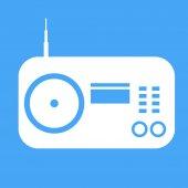 Icono del radio vector sobre fondo azul. — Vector de stock