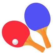 Table tennis rackets and ball on a white background. — Stock Vector