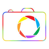Abstract colorful camera on a white background. — Stock Vector