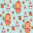 Christmas pattern with bear and penguins — Stock Vector #78522628