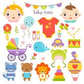 Cute cartoon baby set — Stock Vector