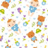 Seamless pattern with boy — Stock Vector