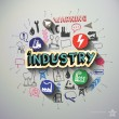 Industry collage with icons background — Stock Vector #59470107