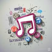 Music and entertainment collage with icons background — Stockvektor
