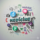 Medical collage with icons background — Stock Vector