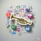 Music and entertainment collage with icons background — Stock Vector
