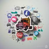 Transportation collage with icons background — Stock Vector