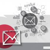 Paper and hand drawn mail message emblem with icons background — ストックベクタ