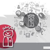 Emblema di uomo disegnato per carta e mano con sfondo icone — Vettoriale Stock