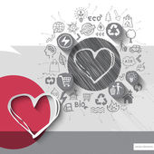 Paper and hand drawn heart emblem with icons background — Stock Vector